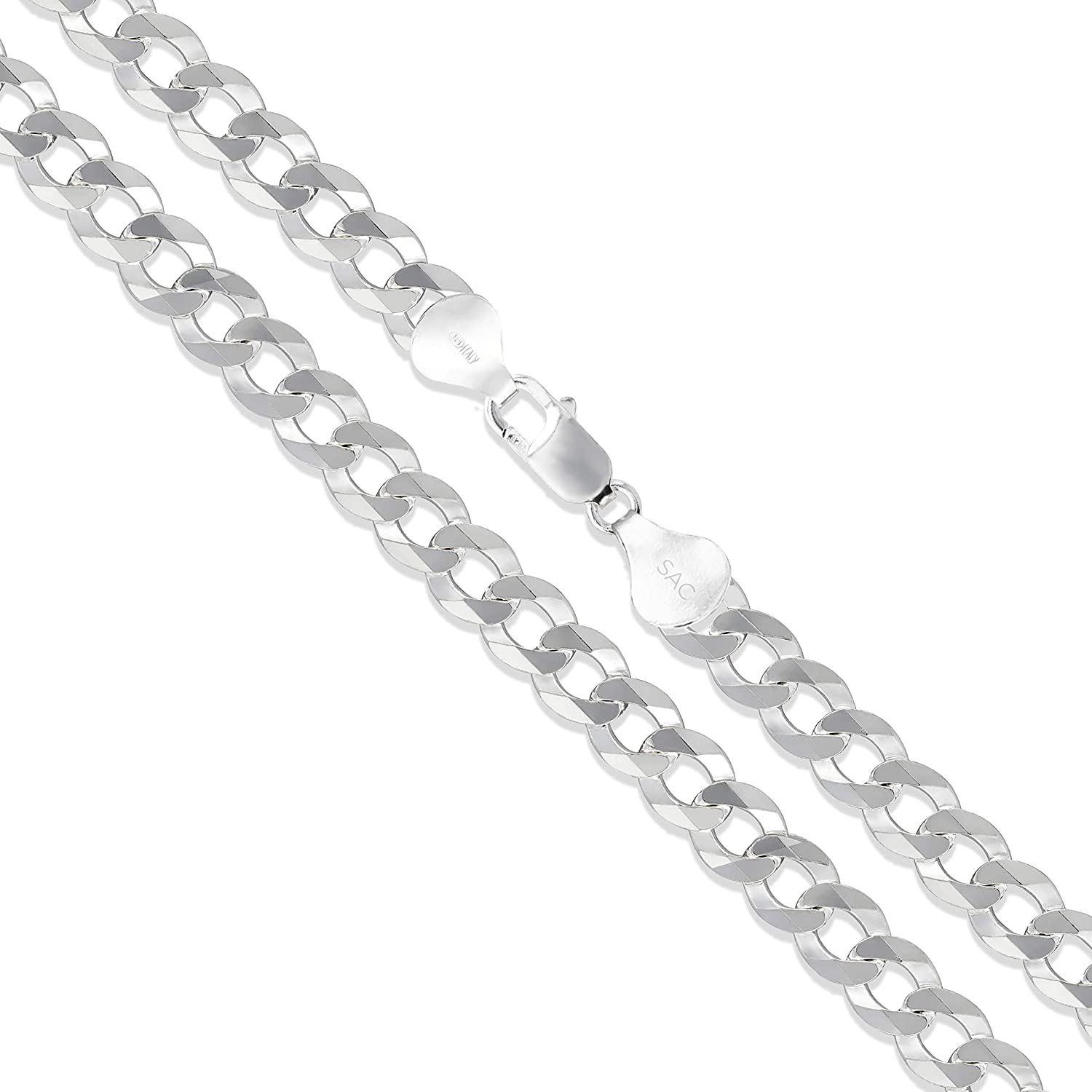Men's Sterling Silver Flat Curb 925 5.2mm-14.8mm Solid Chain Ita shopping Luxury goods