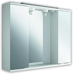The Living Design Volta Armadio con 2Ante con Specchio, Legno, Bianco, 63x 80x 15.6cm