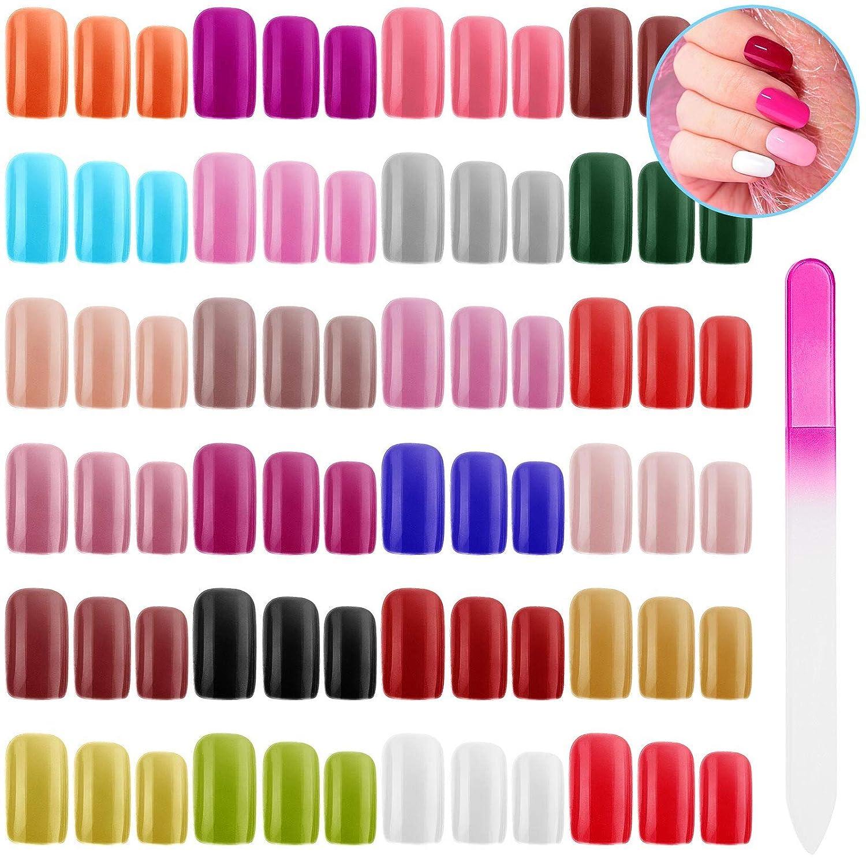 576 Pieces Square Press on Max 54% OFF Nails Large-scale sale Medium Colors N 24 False