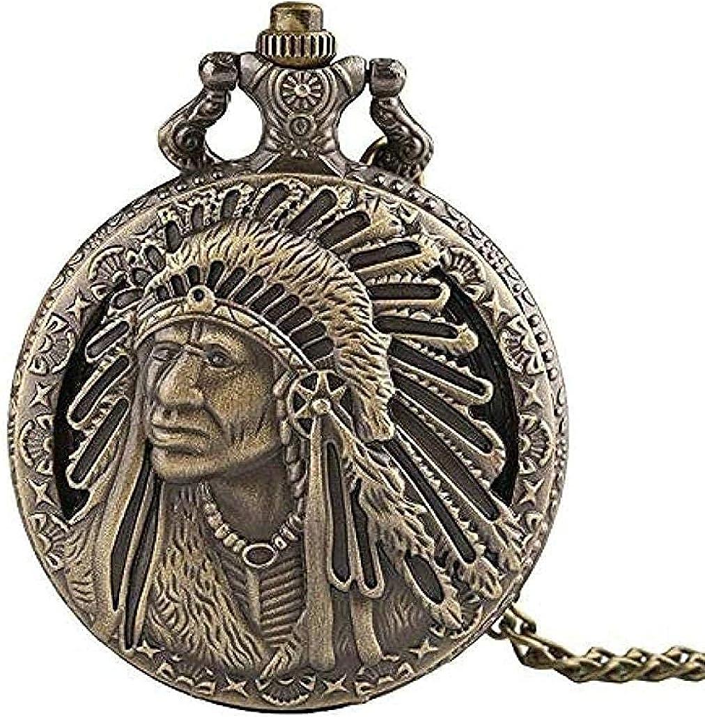 WYDSFWL Collar Reloj de Bolsillo de Bronce Vintage Nativo Americano Escultura Hombre Viejo Modelo Retro Recuerdo Colgante Reloj de Bolsillo de Cuarzo con Cadena de Regalo Collar Regalo
