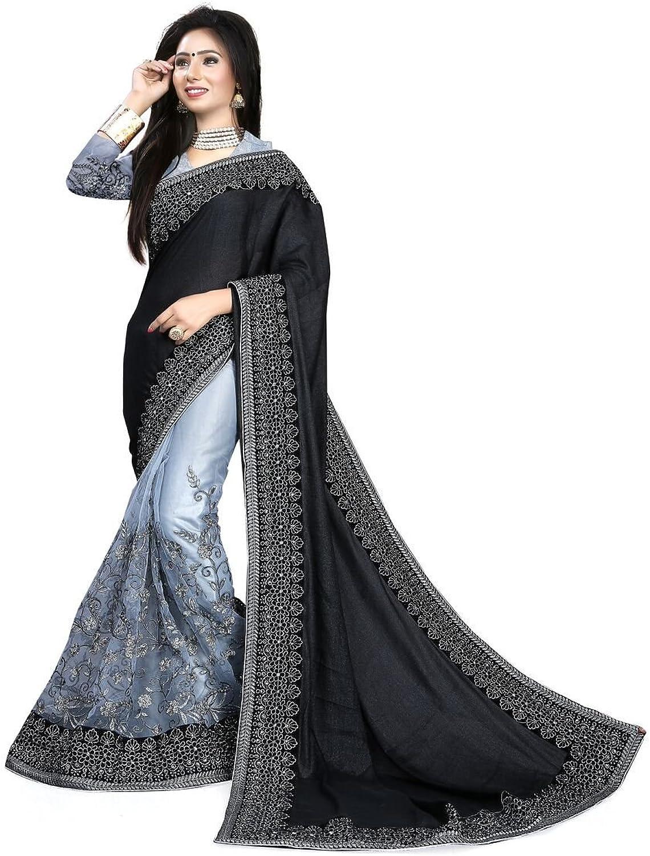 Stylo Sarees Black Zari Work Net Sari for Women