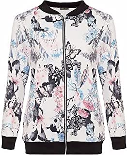 21FASHION Womens Butterfly Floral Print Bomber Jacket Ladies Long Sleeve Zip up Top Coat Small/XX-Large