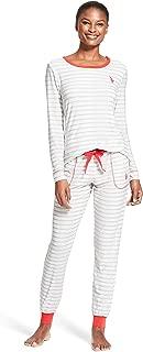 Womens Long Sleeve Shirt with Cuffed Pajama Pants Sleep Set