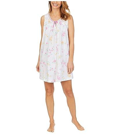 Carole Hochman Plus Size Soft Jersey Sleeveless Short Gown (White Multi Floral) Women