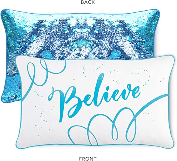 Believe Pillow Case Insert With Lake Blue Silver Flip Sequins