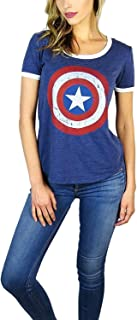 Marvel Womens Captain America Burnout Ringer Tee