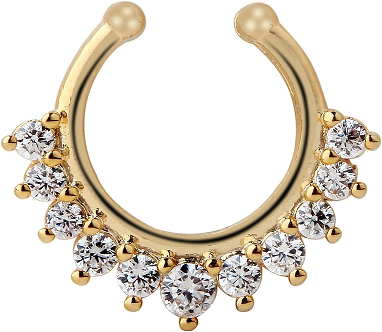 Achieer Nose Ring Septum Piercing Jewelry, Cubic Zircon Fake Septum Nose Ring for Women Non Piercing Clip On Body Piercing Jewelry