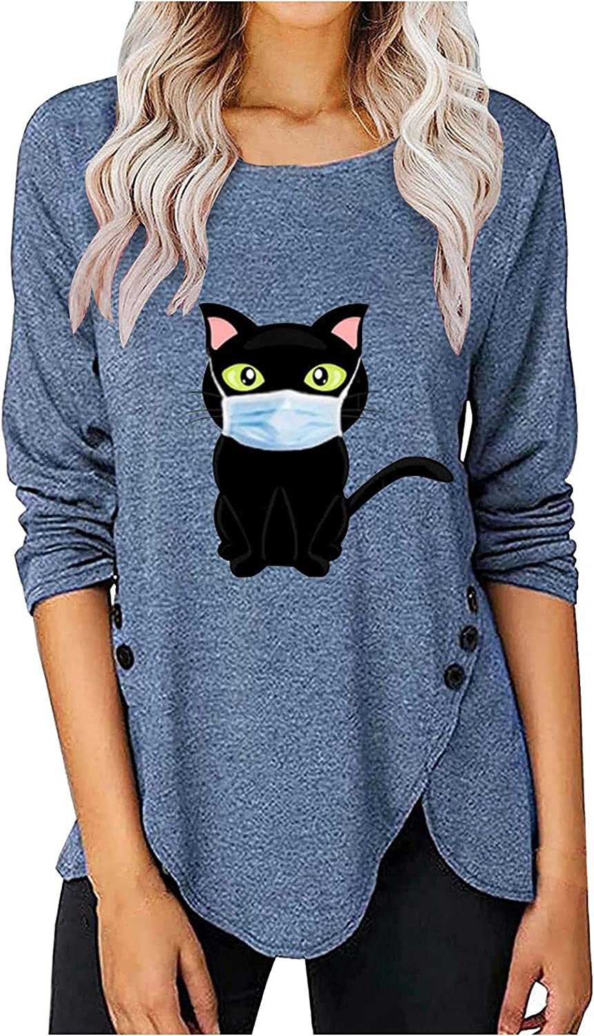Selling rankings Womens Tops and Blouses Printed Top Long-Sleeved T-Shirt Max 66% OFF Button