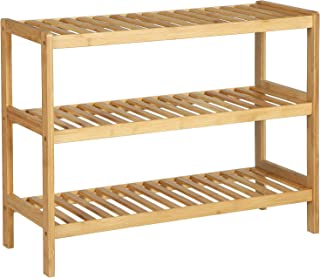 SONGMICS 3-Tier Bamboo Shoe Rack Bench, Shoe Organizer, Utility Storage Shelf Rack, Storage Shelf, 3-Shelf Shelving Unit, for Entryway Hallway Bathroom Living Room and Corridor, Natural UBCB03NL