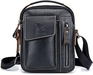 Mens Charminer Genuine Leather Sling Bag Shoulder Bag Portrait Format Messenger Bag Chest Bag Backpack for Hiking, cycling, travel, leisure or Multi-Purpose Casual Bag Black