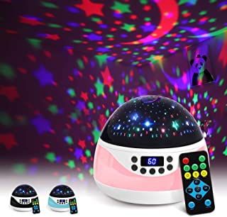 AnanBros Remote Baby Night Light with Timer Music, Star Night Light Projector for Kids, Rotating Kids Night Lights for Bedroom 9 Color Options, Projection Lamp for Baby Pink