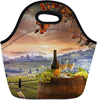 Semtomn Neoprene Lunch Tote Bag Red White Wine Barrel on Vineyard in Chianti Tuscany Reusable Cooler Bags Insulated Thermal Picnic Handbag for Travel,School,Outdoors,Work