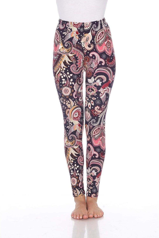 white mark Women's One Size Fits Most Printed Leggings Purple/Fuscia Paisley
