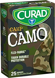 Curad 25 Camouflage Green Fabric Bandages (Pack of 6)