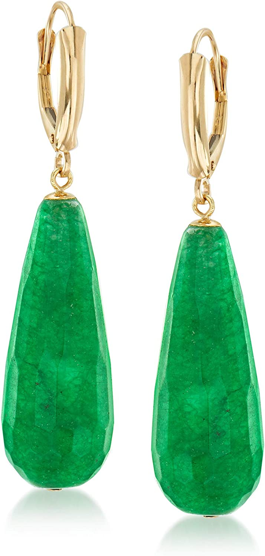 Ross-Simons Jade Drop Earrings in 14kt Yellow Gold