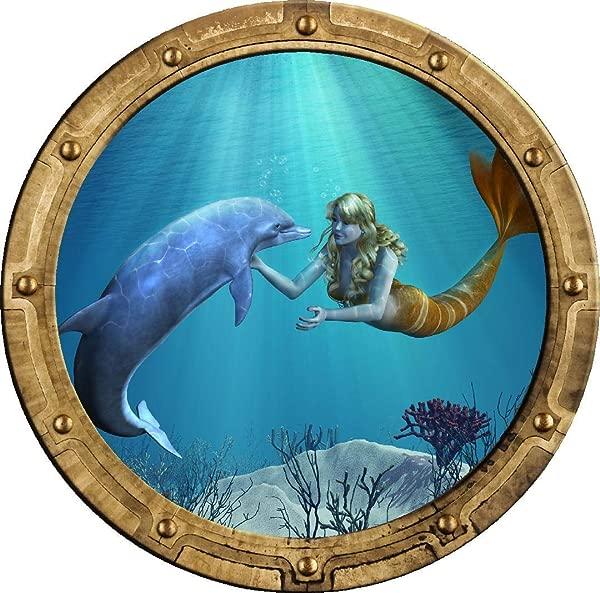 24 Porthole 3D Window Wall Sticker Mermaid Dolphin 1 Rustic Port Scape Decal Sea Ocean Submarine Window Kids Room Decor Wall Art Removable Vinyl