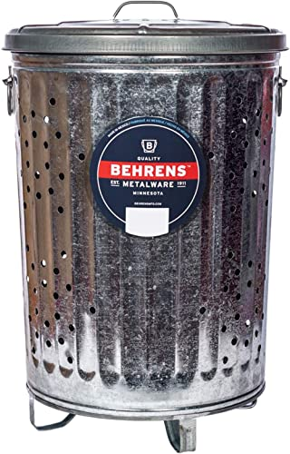 Behrens Manufacturing B907P Galvanized Composter Steel Trash Can for Garden and Yard Waste Hot-Dipped, 20-Gallon, Silver