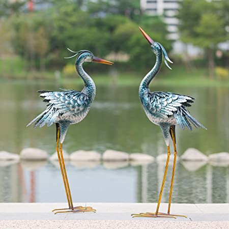 CHISHEEN Garden Crane Statues Outdoor Sculptures, Metal Yard Art Heron Statues Standing for Indoor Outdoor Decor, Bird Statues for Patio Lawn Porch Decorations