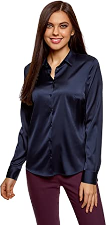 oodji Collection Mujer Blusa Entallada de Tejido de Raso