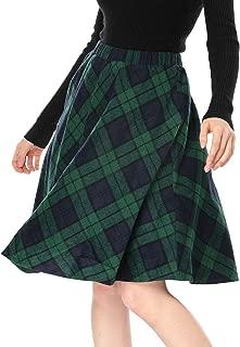 Women's Plaids Elastic Waist Knee Length a Line Skirt