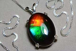 Ammolite Necklace, Sterling Silver, 20x15mm Pendant, Alberta Canada Gem Jewelry, Wood Gift Box, Real Natural Genuine Ammolite Jewellery T39