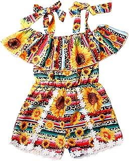 sunnymi Baby Kinder Kleidung sunnymi Bekleidungssets für Baby-Mädchen,1-5 Jahre Baby Mädchen Kleidung Set Rüschen Blumendruck Ärmellose Strampler Kleinkind Outfits