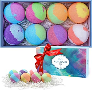 Bath Bombs Gift Set, 8 Multi-Colored Vegan Bath Bomb Kit in Luxurious Gift Box with Organic Essential Oils for Christmas, ...