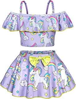 Jurebecia Unicorn Two Piece Swimsuit for Girls Rainbow Unicorn Ruffle Bathing Suits Kids Swimwear Beach Tankini 2-10 Years