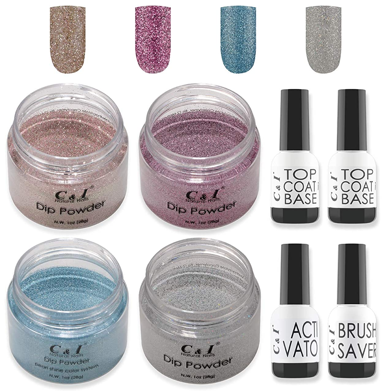 ラベルボードC&I Dip Powder Nail Colors & Liquids Set, 4 colors and 4 liquids, glittering nail powder, N.W. 28 g * 4 pcs & 15 ml * 4 pcs