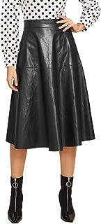 Women's Vintage High Waist Flared Skirt Midi PU Skirt
