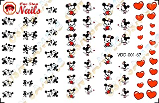 Valentine's Day with Mickey And Minnie Nail Art Decals. Clear waterslide nail art decals (Tattoo) Set of 67 by One Stop Nails VDD-001-67