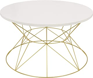 Kate and Laurel Mendel Round Metal Coffee Table, White Top with Gold Base