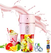 Portable Blender ARTSUN Mini Blender USB Rechargeable Small Blender Personal Cup Juicer Waterproof 10.5oz(PINK)