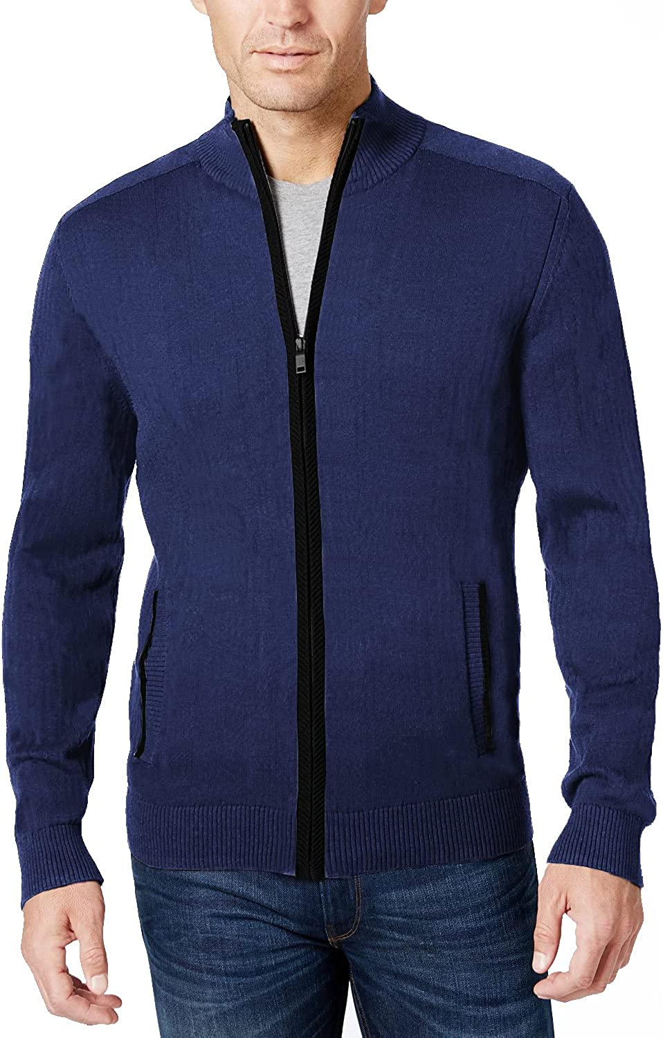 COOFANDY Men's Full Popularity Zip Year-end gift Sweater Fit Slim Cardiga Stylish Knitted