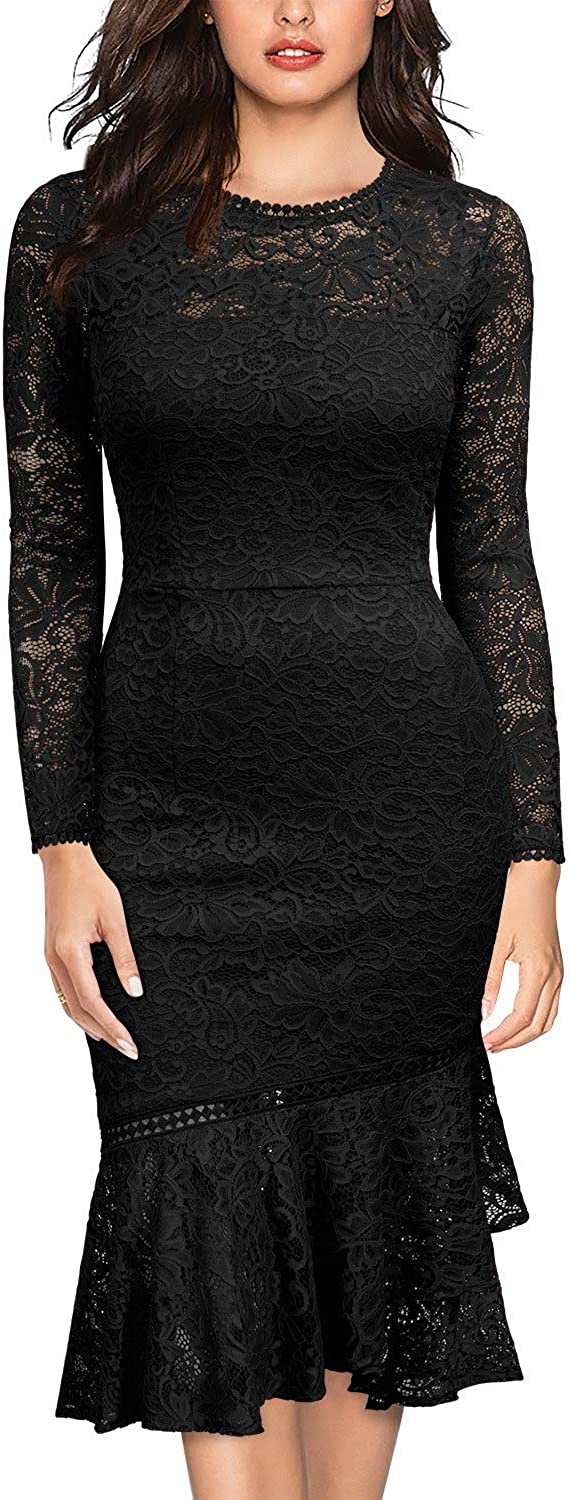 Miusol Women's Brand new Retro Floral Lace Sleeve Gifts Long Bridesmaid Wedding