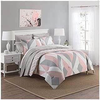 3 Piece Girls Light Pink Grey White Geometric Polkadot Theme Comforter Queen Set, Beautiful Girly All Over Abstract Shape Polka Dot Bedding, Stylish Modern Small Polkadots Dots Themed Pattern, Gray
