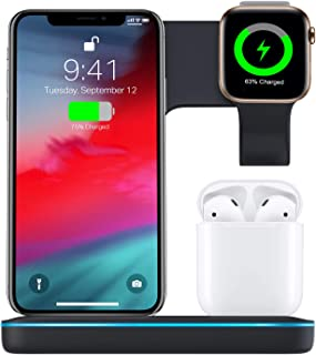 Torteco 3 in 1 Wireless Charger, Qi Fast Charger for Phone Watch Earpods,15W/10W Fast Charger Stand Compatible with iPhone 11/11Pro/11ProMax/Xs/Max/Xr/X/8 Plus,Samsung S10 S9 S8, Black