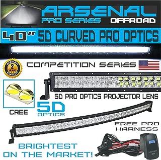 #1 5D 40 inch Curved Pro Optics 228W 5D= 390W 39,000LM CREE LED Light Bar by Arsenal Offroad TM Spot Flood combo beam for Xtreme Offroad JEEP Trucks UTV SUV 4x4 Polaris Razor 1000 Raptor