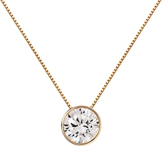 14K Solid White Gold Pendant Necklace | Bezel Set Round Cut Cubic Zirconia Solitaire | 1.5 Carat | 16 Inch or 18 Inch 1.0mm Box Link Chain | With Gift Box