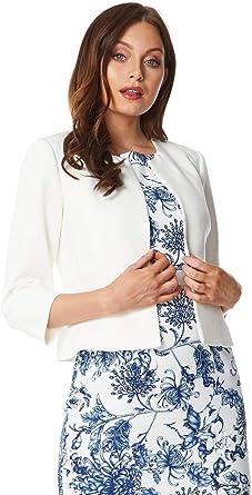 Roman Originals Chaqueta de mujer de tejido jacquard con diseño de flores para mujer con botones simples y cuello de encaje, estilo informal elegante para la oficina o las salidas
