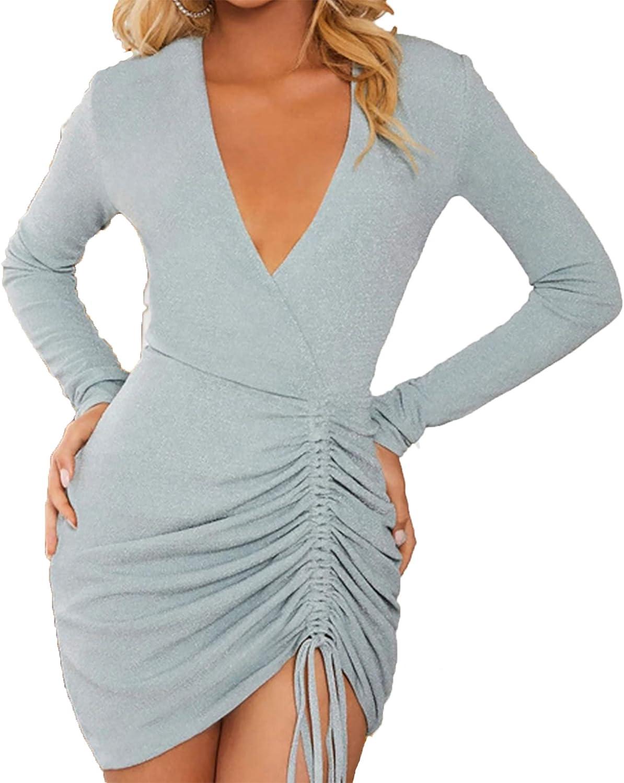 Ophestin Women Sexy Glitter Bodycon Mini Dress V Neck Ruched Drawstring Sparkly Wrap Dresses Clubwear
