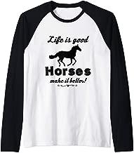 Life Is Good Horses Make It Better T Shirt Horse Lover Tee Raglan Baseball Tee