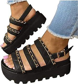 UULIKE Sandale Plateforme Femme Été,Couleur Unie Mode Loisirs Arc Bout Ouvert Tressée Plateforme Chaussures,Confort Compen...