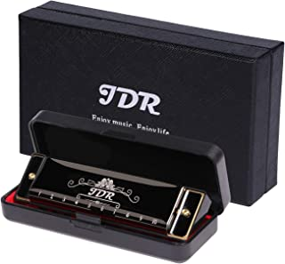 JDR Harmonica Blues Key of C, 10 Hole 20 Tones with 0.8mm Plate Structure for Kids Beginners with Gift Case, Clean Cloth and Manual