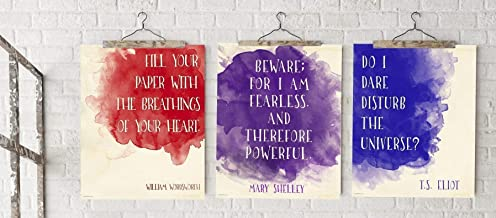 Literary Quotes Inspirational Fine Art Print Set Featuring Mary Shelley, T.S.Eliot and William Wordsworth for Home, Classroom, Library or Dorm