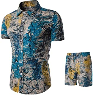 Kaister Men's Short Pants Printing Jumpsuit Suit Summer New Comfortable Fashion Overalls