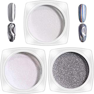 3 Bottle Nail Glitter Dust Neon Silver Sparkly Chrome Pigment Nail Art Sequins