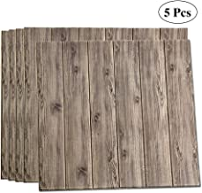 LEISIME 3D Wall Sticker Self-Adhesive Wall Panels Waterproof PE Foam Wood Veins Wallpaper for Living Room TV Wall and Home Decor (Wood 5 Pack - 29 Sq Ft)