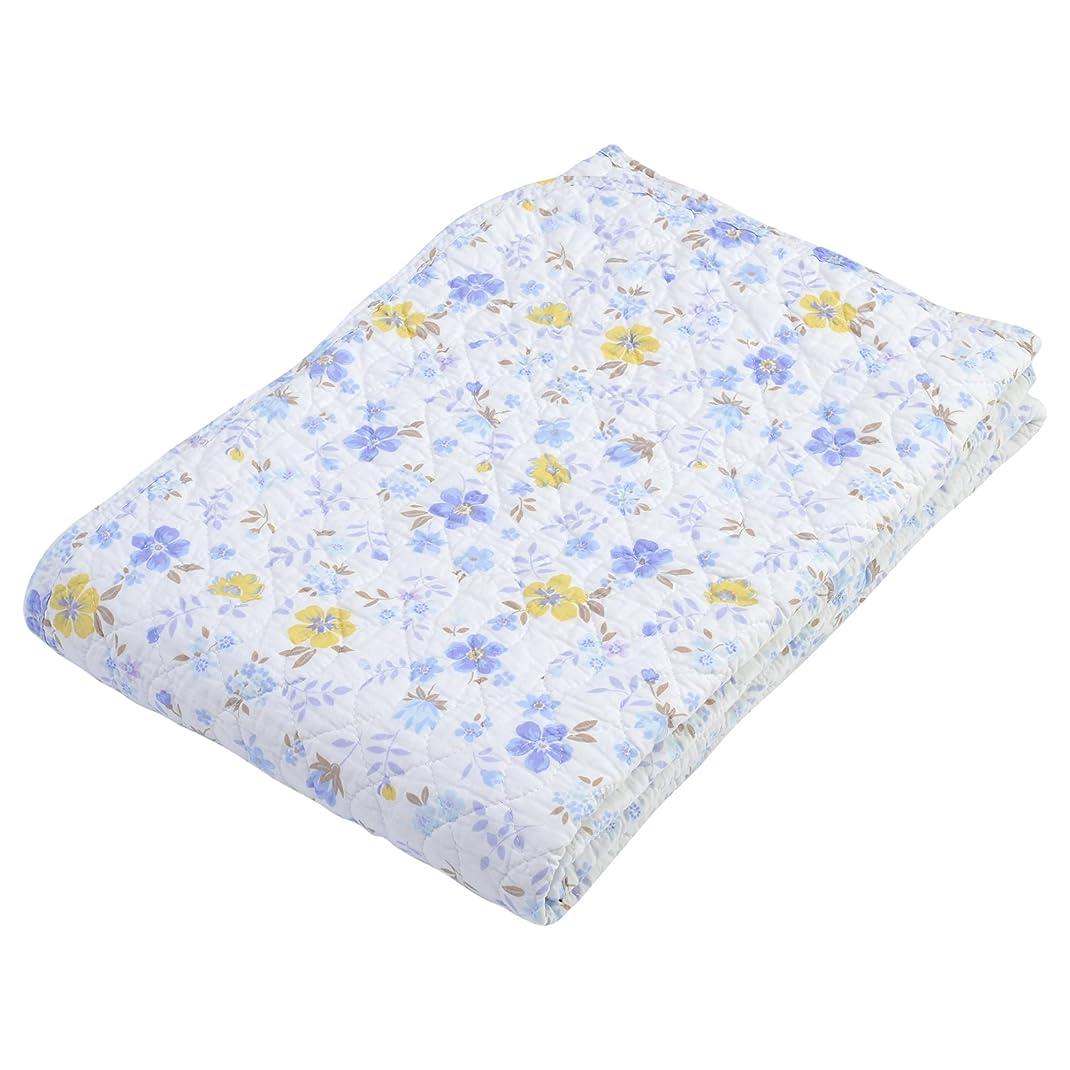 不誠実社会学化学薬品西川(Nishikawa) ベットパッド?敷きパッド ブルー ダブル 水洗い キルト 花柄 5CK204D