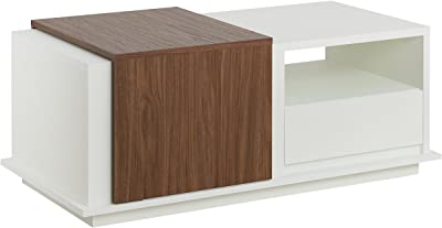 """Furniture of America Brooks Modern 1-Drawer Two-Tone Sliding Panel Rectangular Coffee Table with 2 Hidden Storages and 1 Open Shelf, 47"""", White and Black"""